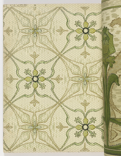 Collection of patterns put together by Alfred Peats. Each of the patterns is part of a matched set consisting of a sidewall, frieze and ceiling paper. Each design is shown in mulitple colorways. Designs include landscapes, medallions, medallion stripes, and florals.