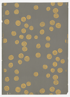 Printed in art deco style of decoration for Nancy McClelland of New York City. Gold scrolls scattered in a haphazard way over the gray background. Printed in old Roman gold on slate gray.