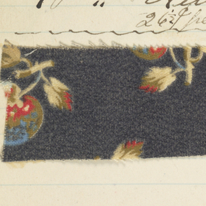 Small notebook with tabbed colors: Blue, Green, Olive, Red, Brown, Orange, Stone, Drabs. Very few textile samples, mostly recipes for dyestuffs.