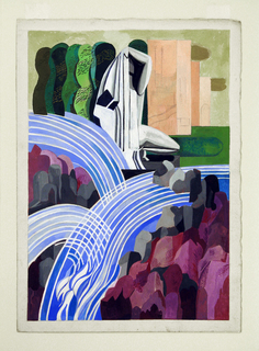 Abstract vertical landscape with crossing waterfalls, trees in the upper left background, pink structures on the right and purple and grey rock formation lower right; a grey, black, and white figure with arm raised crouches in upper center.