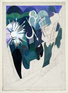 Unfinished abstract landscape in different hues of blue; starburst on left; tall sculpture at right, angled, arrow at center; what looks like an arched bridge below.