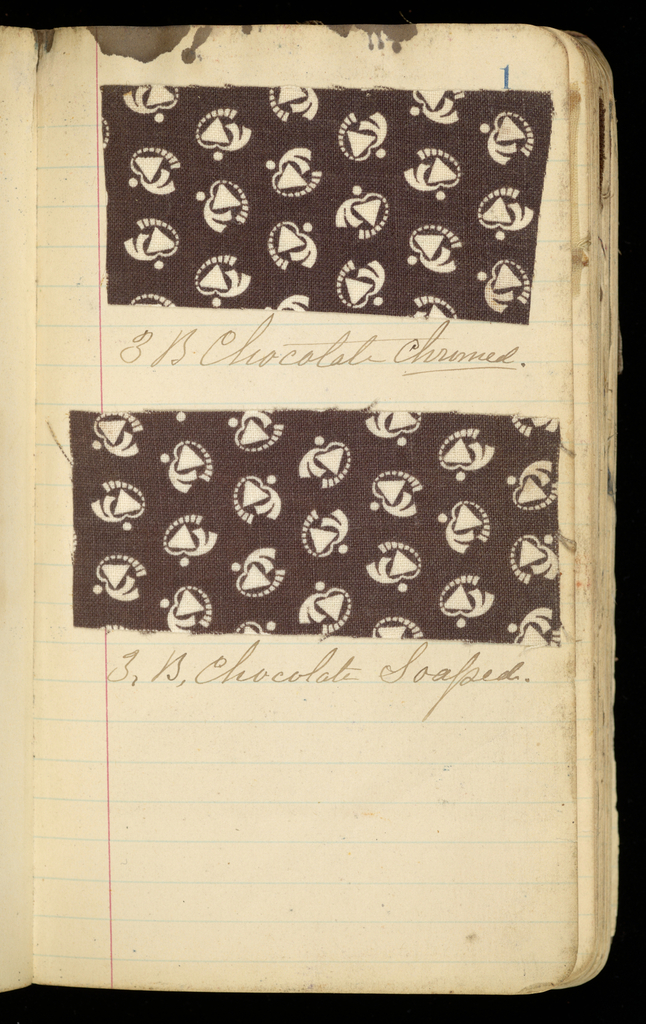 Small dark brown leather-bound book with textiles samples. Natural and synthetic dyes. Mostly small-patterned geometric and floral prints on plain weave cotton. 148 samples.