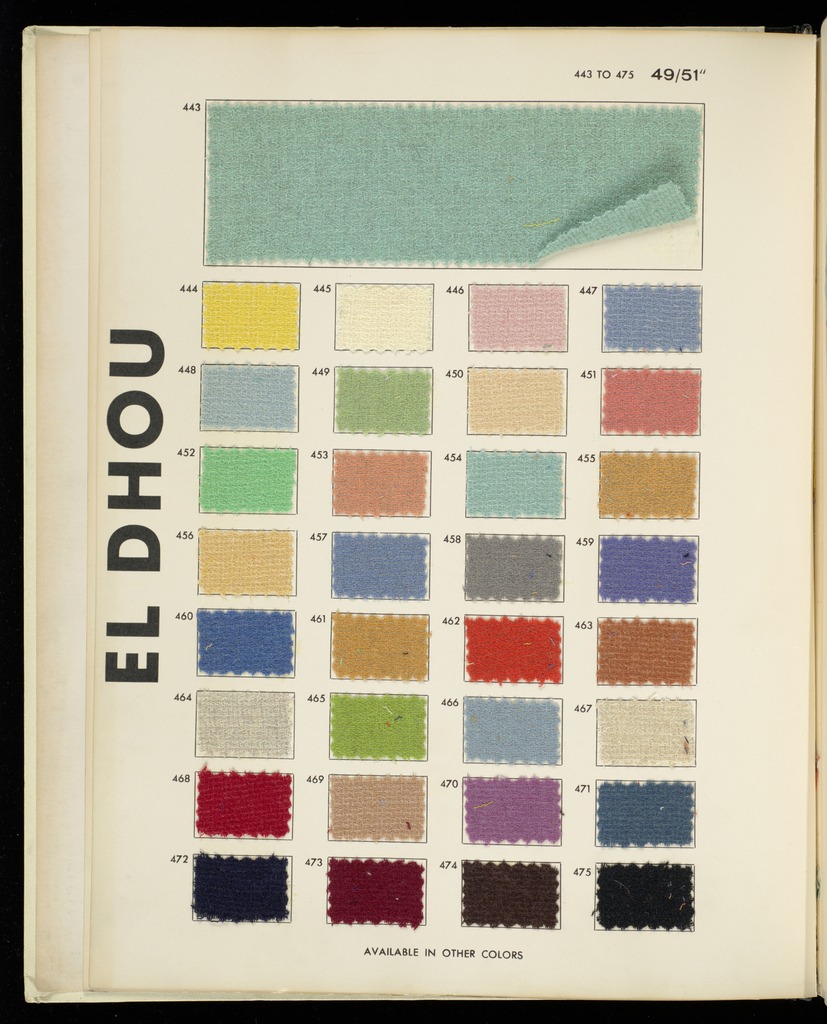 """Book with a white cover and """"Rodier"""" printed in red and black letters. Contains sketches of garments and samples of textiles with descriptions and prices."""