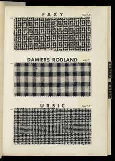 "Book with a white cover and ""Rodier"" printed in red and black letters. Contains sketches of garments and samples of textiles with descriptions and prices."