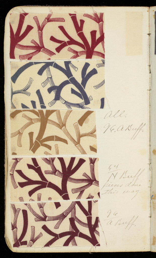 Small dark brown leather-bound textile sample book with handwritten formulas for dyestuffs. Contains 189 samples in various designs. Tabbed colors: Buff, Brown, Red, Olive, Blues, Purple, Drab, Stone.