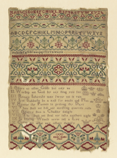 Vertical rectangular sampler in green and red on a cream ground. In the upper register, small floral borders and three alphabets. In the middle is a wide, symmetrical floral border with stylized carnations. Below, the Ten Commandments in rhyming couplets.  A linked octagon band at the bottom bears the inscription Anne Hart 1740, surmounted by three hearts. The two outer octagons contain dogs or lions facing a pine tree, which characterize Norfolk samplers.