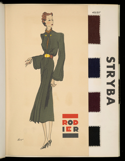 "Book containing samples of fabrics designed by Rodier. White cover with ""Rodier"" in large red and black celluloid letters. Contains fifteen fashion sketches and fabric samples: 269 wool, 14 silk, 4 wool and metallic, 4 silks and metallic."