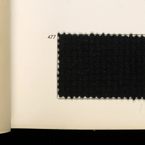 """Book containing samples of fabrics designed by Rodier. White cover with """"Rodier"""" in large red and black celluloid letters. Contains fifteen fashion sketches and fabric samples: 269 wool, 14 silk, 4 wool and metallic, 4 silks and metallic."""