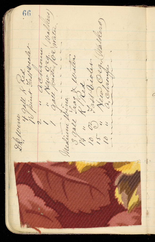 Leather bound notebook with handwritten formulas for dyestuffs to be used for printing textiles. Half of book not used.