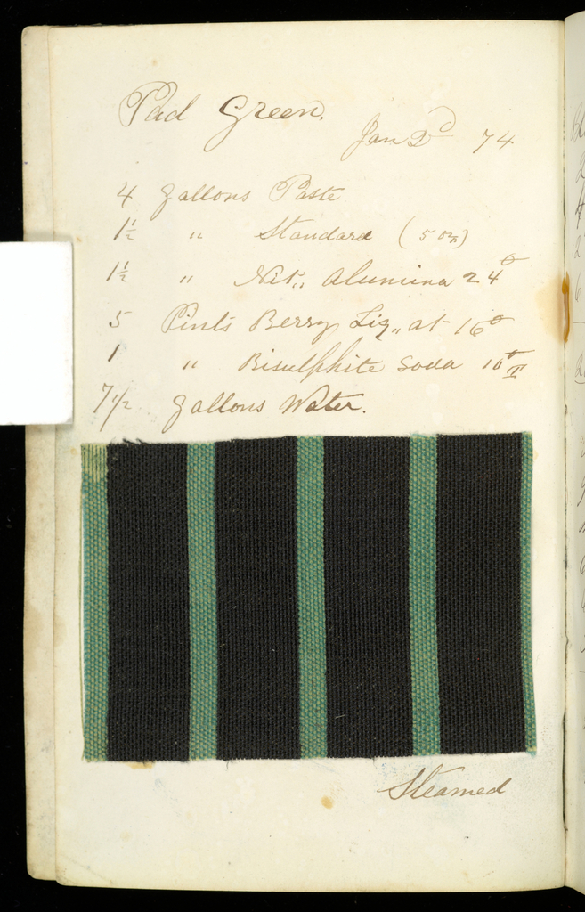 Small notebook with handwritten formulas for dyestuffs to be used on printed textiles. Contains 72 fabric samples in a variety of patterns.