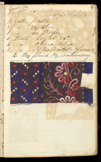 Small notebook with handwritten formulas for dyestuffs to be used for printing textiles. Contains 195 samples of printed fabric. Inside cover pasted with newspaper clippings.