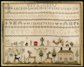 At the top, Viva Gesu, followed by alphabets and numerals divided by small floral bands. In the lower register, symbols of the crucifixion, a grape arbor, deer, and a house.