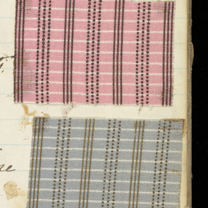 Small brown paper-bound book with a variety of textile patterns. Patterns include children playing, small flowers, flower buds, plaids, dots, stripes, and meandering ribbons. Mostly synthetic dyes. Contains 179 samples.
