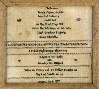 Text in black stitching on a natural linen ground. Made at the Cheltenham Female Orphan Asylum.