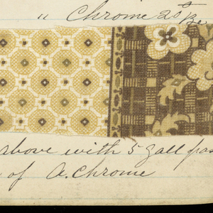 Small notebook with handwritten formulas for dyestuffs to be used for printed textiles. Contains 135 samples of printed fabric.