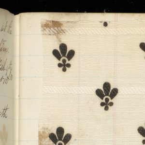 Small notebook with handwritten formulas for dyestuffs to be used for printing textiles. Contains 56 samples of printed fabric, mostly florals.