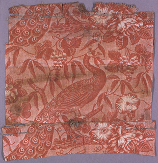 Natural-colored stiff and coarse linen printed in red with a design of peacocks, morning glories, grape clusters, leaves, and branches.