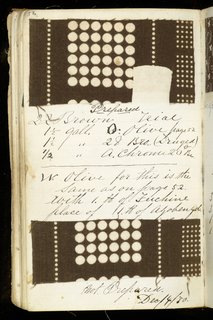 Small notebook with handwritten formulas for dyestuffs to used for printed textiles. Contains 96 samples of textiles in various designs, mostly small motifs.