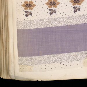 "Green cloth bound volume of 1,823 samples of printed cottons mounted on paper. Title page marked ""A1857."" Many samples of miniature geometric and floral patterns and combinations of both forms. Larger pattern with border designs and warp stripes."