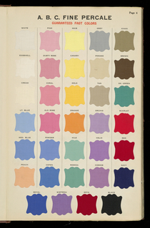 Sample book with fine percale swatches from the Spring line of fabrics.