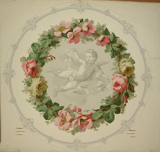 Large circular medallion. Center portion is putto in grisaille with a puttowith spread wings and floating drapery. He has a spray of leaves held in his outstretched arms. The medallion is encircled with a flower wreath in natural colors. Both double and single roses are used. This wreath is on anoyster-white field edged with a small circular border printed in tones of violet.