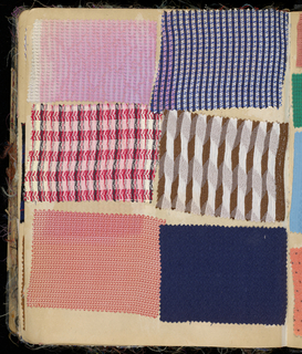 Scrapbook containing 599 fabric swatches covering a variety of fashionable trends including Egyptian revival and Art Moderne.