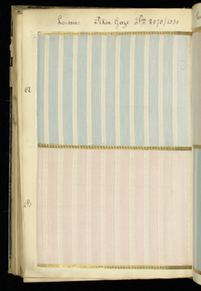 """Printed text on spine: """"NOUVEAUTES TEINT EN FILS""""  Printed text on front cover: """"FABRIQUE DE REGISTRES NOUVEAUTES TEINT EN FILS C & P P.G.V.F. & C.""""  Handwritten text on cover page: """"Nouveautes 1905/1906"""" Tab pages with handwritten text: """"Louisine Brochée 2063,"""" """"Louisine (unreadable word, possibly unie), Rayée Façonné,"""" """"Louisine Brochée 2058,"""" """"Taffetas Façonné,"""" """"Huitienne."""" Each sample has handwritten text above it designating style and number. Samples are affixed to the page with adhered gold paper strips, embossed with Greek key pattern."""