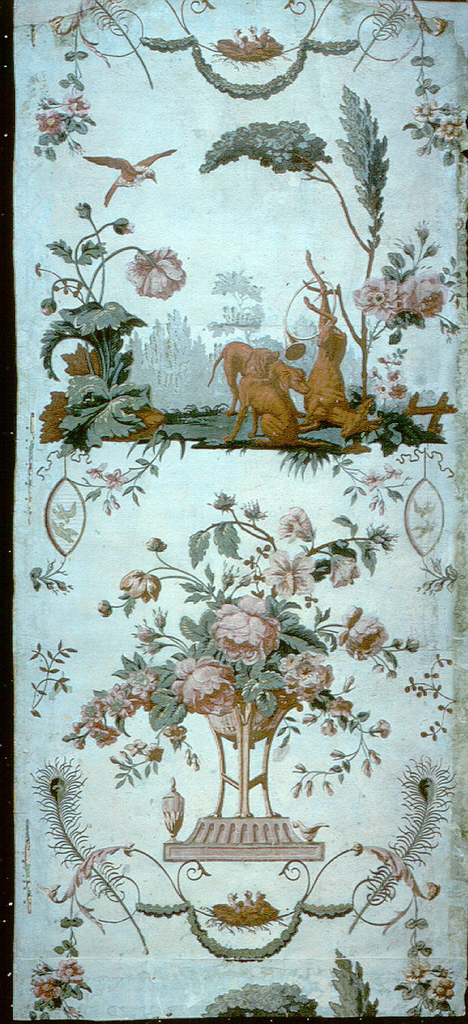 Vertical rectangle of joined sheets of paper. Alternating medallions: one shows two dogs guarding the carcass of a deer hanging head downward from a tree on which hangs also a hunting horn; the other shows a tripod urn containing flowers, flanked by peacock feathers, below which is a nest with three young birds.