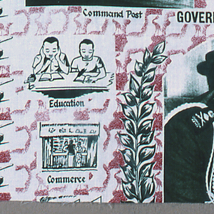 """Length of poorly printed cotton with a design printed in olive green and red. In the center, a photo portrait of Idi Amin """"President 2nd Republic of Uganda"""" under the caption """"Government of Action."""" This alternates with the coat of arms of Uganda: crossed spears behind a sheild with a sun and drum, flanked by a Ugandan Kob and a Crested Crane, and the motto """"For God and My Country."""" Surrounded by other scenes, some photographic and others drawn, identified as """"Farming,"""" """"Work Together,"""" """"Commandos,"""" """"Command Post,"""" Regiment,"""" """"Education,"""" """"Take-over Announcement,"""" """"Commerce,"""" """"Industry,"""" """"Jubilation,"""" """"25-1-1971.""""  Borders made up of tanks on the left and fighter planes on the right."""