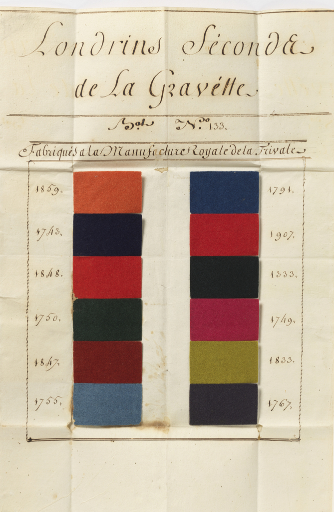 "Folded paper with twelve samples in very bright colors mounted on thin board. Probably used for uniforms.  Samples are mounted on paper which reads ""LONDRINS SECONDS DE LA GRAVETTE MAY No 133  FABRIQUES DE LA MANUFACTURE ROYALE DE LA TRIBALE""."
