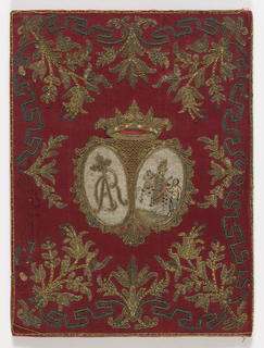 Embroidered satin book cover of red satin decorated with embroidery in silks, metal threads and paillettes. The front cover has a shield surmounted by a Cardinal's hat. The shield has a tree with confronted animals (lions?) on either side and is topped with a crown. Foliage and a broken fret in metal threads and paillettes frame the shield. The back cover has a central design of two ovals with the left framing the initials: CAR. The right has St. Martin on horseback about to cut his throat for a half-naked beggar. These figures are worked in colored silks and metal thread. The ovals are surmounted by a coronet in gold and colored silks. Same border decoration as the front. Lined with printed end paper in a floral design of red, yellow and brown.