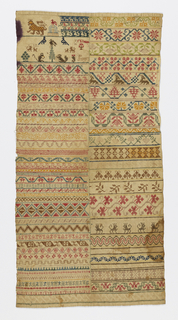 Long sampler with multicolored geometric bands.