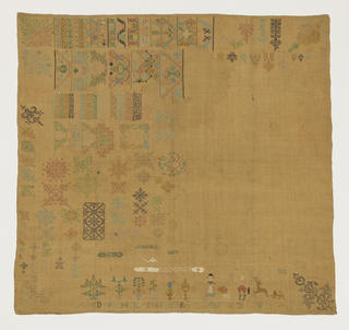 Unfinished sampler with many small areas of geometric, figural and bird motifs in multicolored silk on linen.