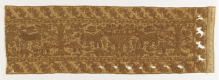 Fragment of an embroidered border made of brown linen raised stitches on linen ground.