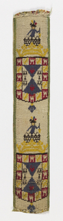 Shield with compartments, each containing a device, crown, and as a crest, a half-figure wearing a plumed hat.  In red, blue, yellow on white.
