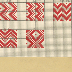 Book with German text discussing fibers and weave structures illustrated with diagrama on graph paper. (No fabric samples in this book).