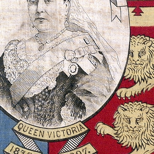 """Printed cotton handkerchief divided into four quarters and showing the symbols of the coat of arms. A center oval medallion contains a portrait of Queen Victoria. In a banner above the portrait: """"In Commemoration of the 60 Years Reign,"""" and below the medallion: """"1837 Queen Victoria 1897."""" Printed in black, blue, red, and yellow on white."""