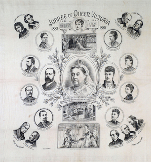 """At the top: """"Jubilee of Queen Victoria 1887."""" In the center, a three-quarter portrait medallion of Queen Victoria, with a banner below reading """"Her Most Excellent Victoria, Queen of Great Britain & Ireland & Empress of India. Center medallion is surrounded by portrait medallions of the royal family, with the Prime Ministers in the four corners. Printed in black on white."""