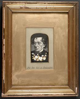 Woven portrait of Prime Minister Benjamin Disraeli, the Earl of Beaconsfield.