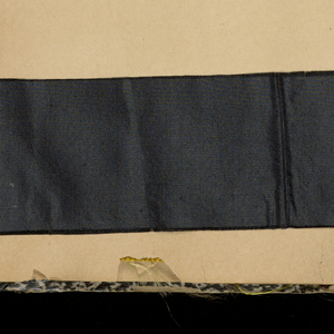 Scrapbook, probably assembled in New York, containing 739 examples of French textiles and ribbons. There are several Egyptian revival ribbons.