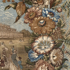 Central scene of the Crystal Palace with people of all nationalities gathered in the foreground, surrounded by a floral pattern in blues and browns.