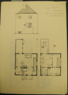 House elevation and floor plan.