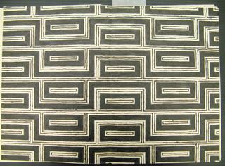 Allover black geometric pattern of framed rectangles.