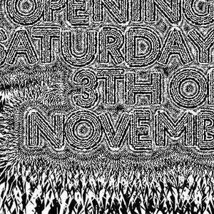 Lettering surrounded by jagged diamond-shaped shards of black and white which seem to emanate for the text.  HorseMove ProjectSpace Presents Ritual Tendencies by Loren Zaboisi / Iris Zugovic and Babara Rink / Opening on Saturday the 3th of November