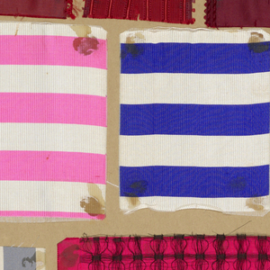 Sample book has 94 ribbon samples with stripes in various colors: 288 checks, 243 samples in plain cloth, moiré, chiné, and rep; 92 with fancy woven border; 11 with short fringes; 100 with jaquard weaves; 2 woven labels; 3 small flags.