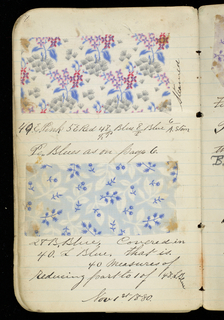 Small notebook with handwritten formulas for dyestuffs for printed textiles. Contains 149 samples of printed fabric.