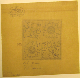 Tile has four quadrants, containing linden leaves, oak leaves, and two with sunflowers.