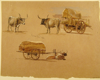 Recto:  Horizontal view divided into two areas: at top left a standing ox shown obliquely from the right shoulder and at top right another ox shown from the left back standing beside a cart laden with straw (?) as a cover extends from the front toward the middle before a slightly sketched background; at the bottom is a covered and laden cart,  shown slightly obliquely from the right back, with tow crouching oxen.  Verso in opposite direction: a distant view of two or three woman washing is visible in the center of the foreground below an elevation with trees, probably cypresses.  A wall with a palm tree behind its right corner is visible in the left foreground.  Two palms and other trees rise in the middleground.  Framing lines at the bottom.  Lower half of the paper is empty.