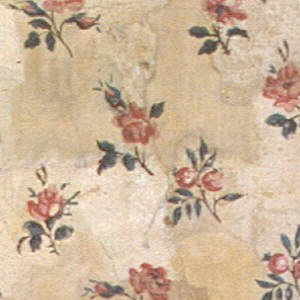 Square of paper, with rows of small clusters of roses and rosebuds. Ground speckled with white dotting. Printed in pink, green and white on pale brown ground.