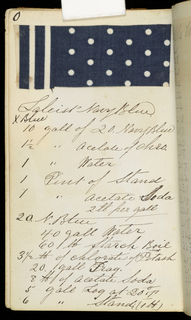 Small notebook with handwritten formulas for dyestuffs to be used for printing textiles.  There are 253 samples of printed cotton fabrics in various patterns: geometric, flowers, stripes, checks.